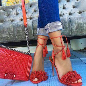 Aquazzura Wild Thing Lipstick Red Heels Sandals